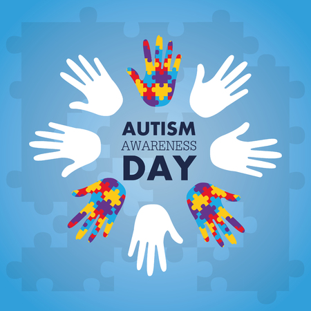 Autism awareness concept with hand of puzzle pieces as symbol vector illustration