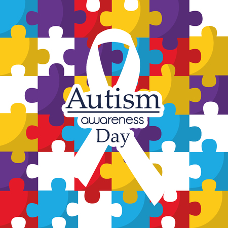 Autism awareness day care integration cooperation card vector illustration
