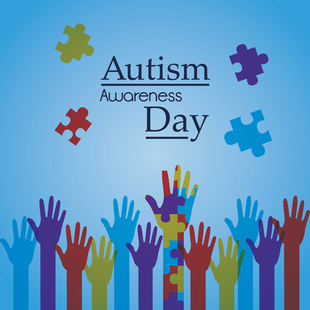 Autism awareness day poster creative campaign vector illustration