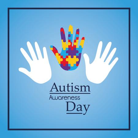 Autismusbewusstseins-Tageshände stützen medizinische Vektorillustration des Ereignisses Standard-Bild - 93642129