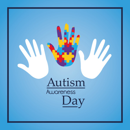 Autism awareness day hands support event medical vector illustration