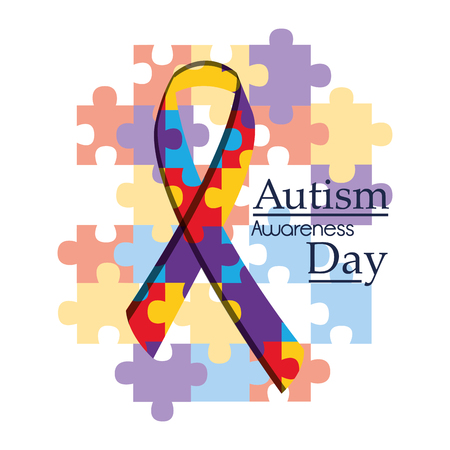 Autism awareness day international organization campaign vector illustration