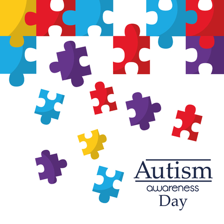 Autism awareness poster with puzzle pieces solidarity and support symbol vector illustration