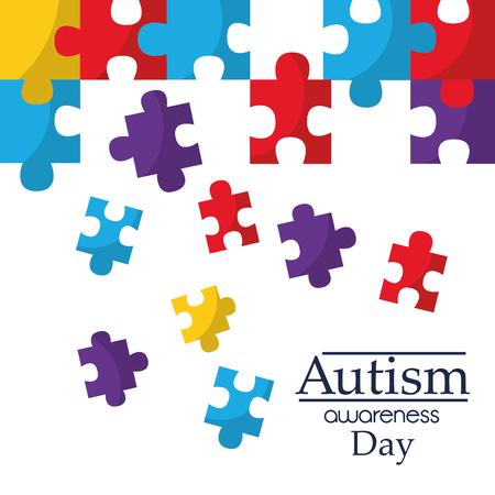 Autisme bewustzijn poster met puzzel stukjes solidariteit en ondersteuning symbool vector illustratie