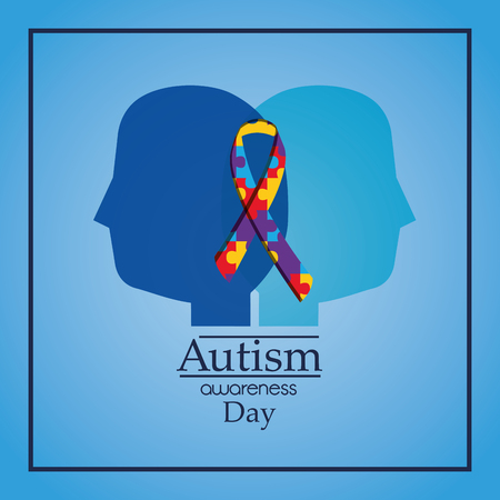autism awareness day human heads profile puzzle ribbon celebration vector illustration Stock Illustratie