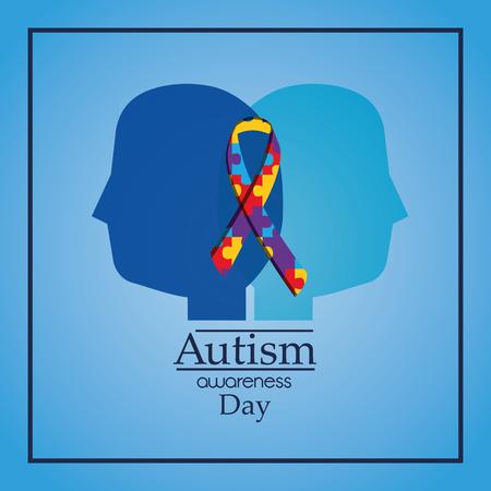 autisme bewustzijn dag menselijke hoofden profiel puzzel lint viering vector illustratie
