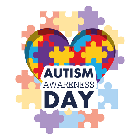 autism awareness day puzzle shape heart health care medical event vector illustration
