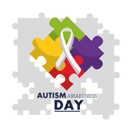 autism awareness day emblem design template vector illustration Ilustrace