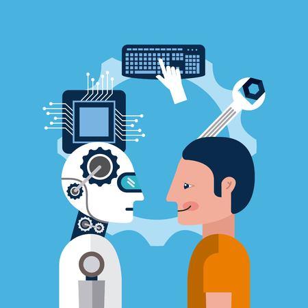 cartoon man and artificial intelligence robot tools vector illustration