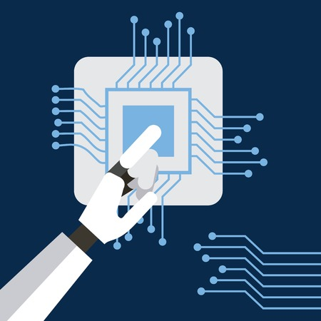 Hand robot humanoid with circuit board vector illustration