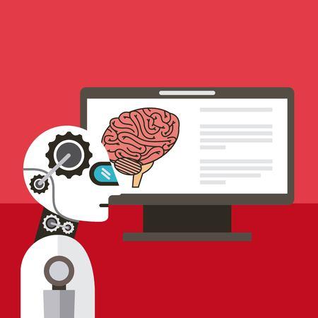 Artificial intelligence computer brain thinking vector illustration