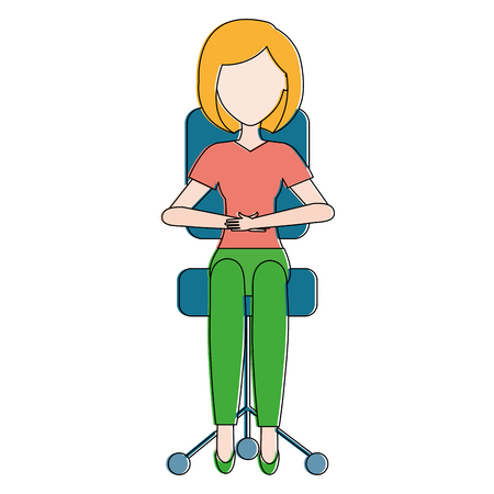 businesswoman in office chair vector illustration design Illustration