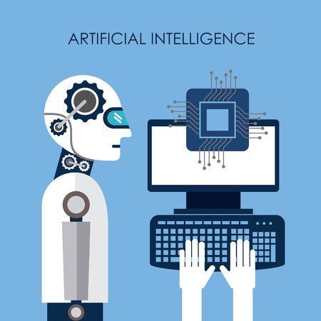 Artificial intelligence computer board circuit vector illustration