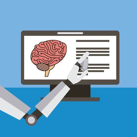 Hand robot artificial monitor brain vector illustration