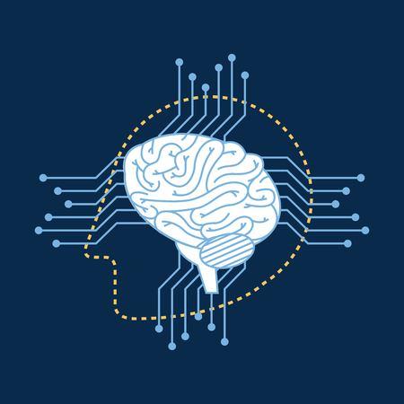 Silhouette robot head brain circuit connection vector illustration