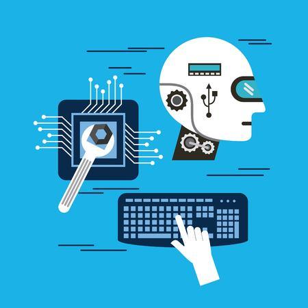 Head robot intelligence board circuit keyboard repair vector illustration Illustration