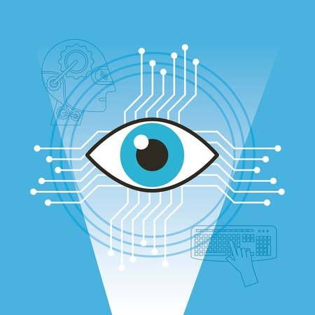 Surveillance vision technology artificial intelligence vector illustration Çizim