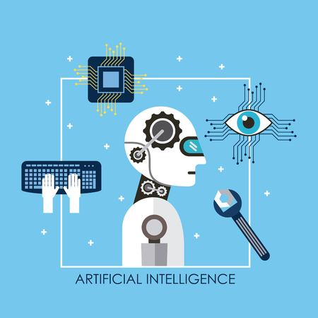 Artificial intelligence robot tool keyboard board circuit surveillance vector illustration Illustration