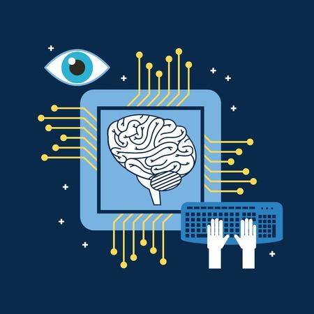 脳CPU回路基板キーボード光学ベクトル図