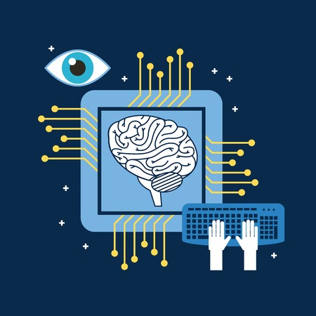 Brain CPU circuit board keyboard optical vector illustration