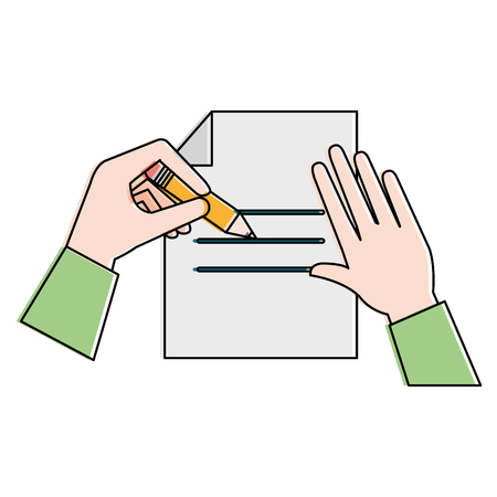 Paper document with hand written vector illustration design