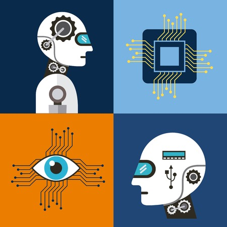 Artificial intelligence icons set technology vector illustration