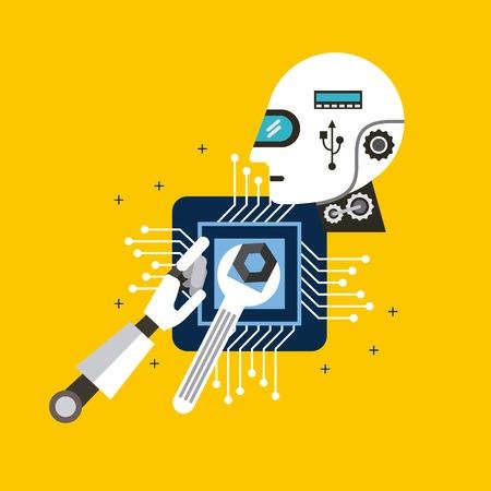 Head robot tools process technology vector illustration
