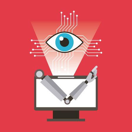 Computer robot arm and eye technology vector illustration Illustration