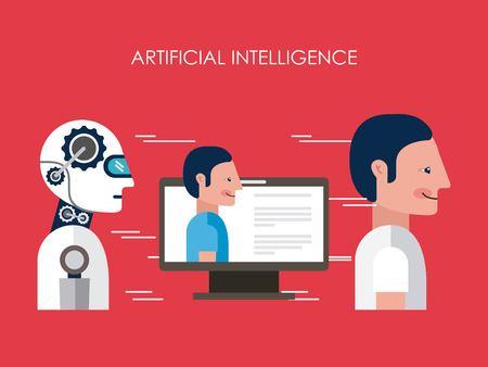 Artificial intelligence robot man computer vector illustration Illustration