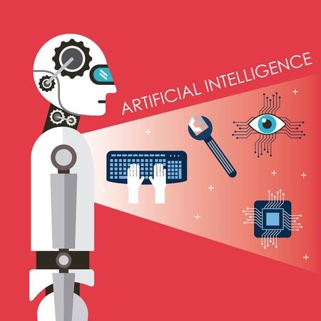 Kunstmatige intelligentie technologie proces succes futurist vectorillustratie Stock Illustratie