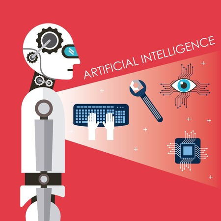 Artificial intelligence technology process success futurist vector illustration