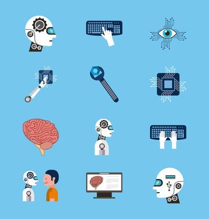 Artificial intelligence icons set technology vector illustration. Illustration