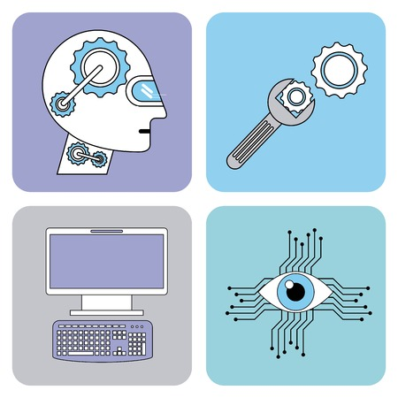 Artificial intelligence icons set technology vector illustration. Illustration