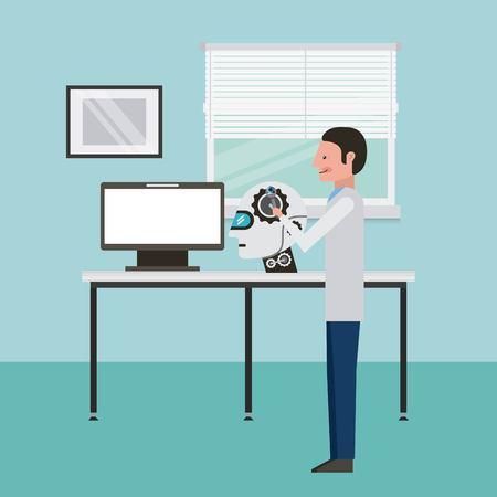 Man réparation laboratoire ingénieur cerveau diagnostic intelligence artificielle illustration vectorielle Banque d'images - 93612964