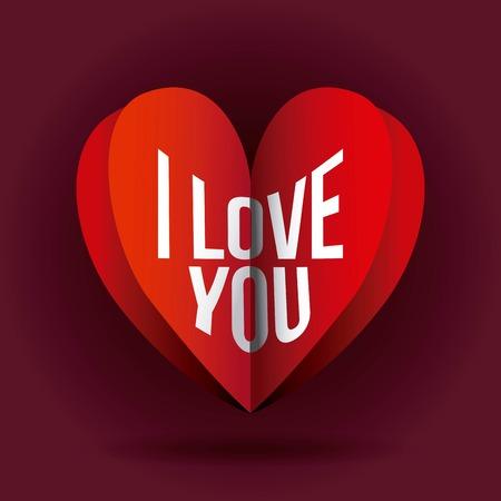 I love you heart romance passion symbol vector illustration