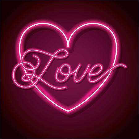 ハッピーバレンタインデーのためのハートデザイン要素を持つネオンワード愛。ベクトルイラスト。  イラスト・ベクター素材