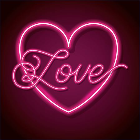 Neon word love with heart design element for Happy Valentines day. Vector illustration. Ilustração