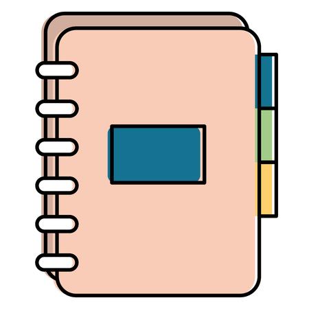 Kantoornotitieboekje met tabbladen. Vector illustratie ontwerp.