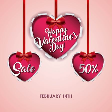Happy valentines day card sale offer discount eCommerce vector illustration Illustration