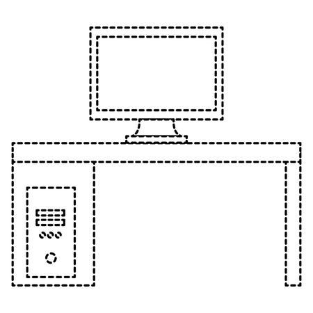 Monitor computer in desk vector illustration design.