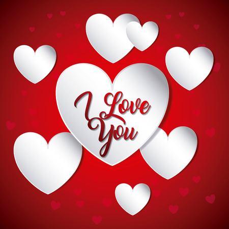 Corações brancas e vermelhas voando eu te amo ilustração vetorial de cartão Foto de archivo - 93654868