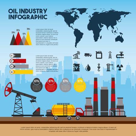 oil industry infographic world process petroleum vector illustration  イラスト・ベクター素材