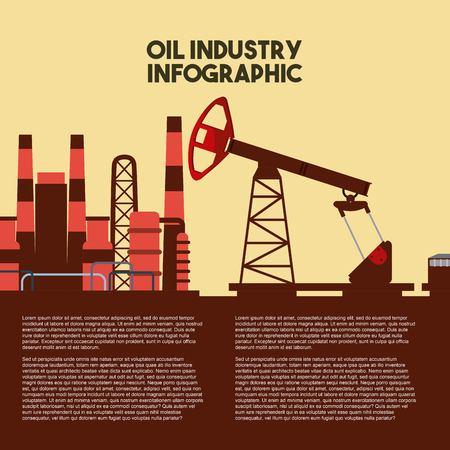 olie-industrie infographic productiviteit fabriek vector illustratie