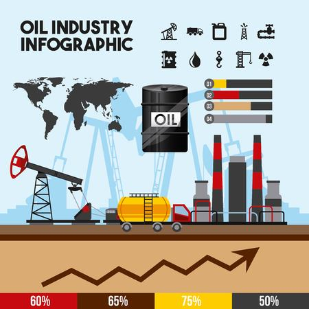 oil industry infographic of processing petrol and transportation production element vector illustration Ilustração