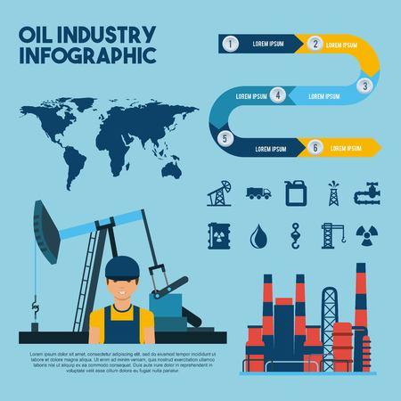 석유 산업 infographic 작업자 추출 세계 공장 벡터 일러스트 레이션 일러스트