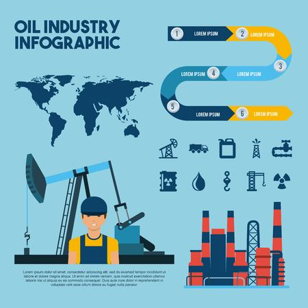 oil industry infographic worker extraction world factory vector illustration Illustration