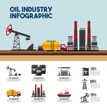 Oil industry info-graphic refinery plant percent petrol. Vector illustration.