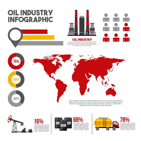 Oil industry info-graphic world production distribution and petroleum extraction business info-chart diagram vector illustration Illustration