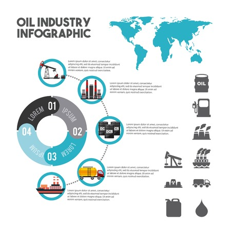 Oil industry info-graphic elements with charts diagram and graphs of global petroleum production. Vector illustration. Illustration