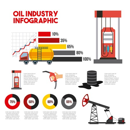 Oil industry info-graphic transport station gas barrel production vector illustration